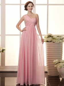 Baby Pink Chiffon One Shoulder Empire Beaded Celebrity New Style 2013 Prom Gowns