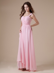 Baby Pink Chiffon Sweetheart Straps Ruch Prom Dress Dress For Custom Made