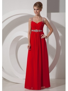 Beaded Decorate Shoulder Chiffon Empire Floor-length Straps 2013 Prom Dress