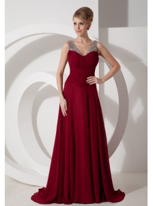 Beaded Decorate Shoulder Straps Chiffon Brush / Sweep Burgundy Prom Dress