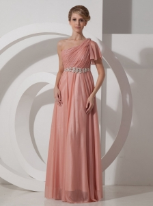 Beaded Decorate Waist Brush / Sweep Chiffon One Shoulder Empire Prom Dress