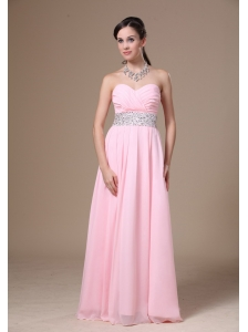 Beaded Decorate Waist Chiffon Sweetheart Pink Empire 2013 Prom Dress