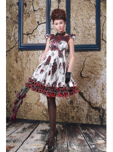 Beaded Printing Bateau A-line Knee-length Prom / Cocktail Dress For Custom Made