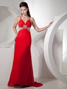 Beading and Ruch Decorate Bodice Straps Red Chiffon Brush Train 2013 Prom / Evening Dress