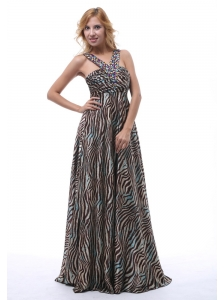 Beautiful Zebra Beaded Decorate Straps V-neck Prom / Evening Dress For Custom Made