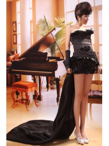 Black Column / Sheath Watteau Organza Strapless Beading Prom Dress Custom Made
