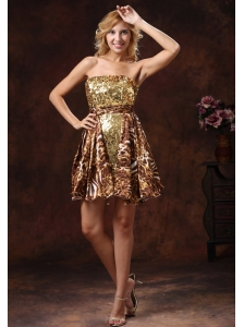 Brown Wholesale A-line Leopard Sequins 2013 Prom Cocktail Dress Mini-length
