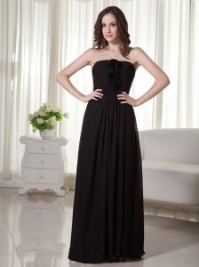 Brush / Sweep Chiffon Strapless Handle-Made Flowers Black Prom Dress