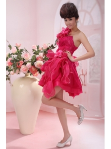 Coral Red One Shoulder A-line Mini-length Hand Made Flowers Stylish Customize Prom Gowns