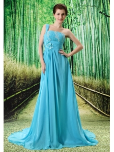Custom Made Baby Blue One Shoulder Appliques Clarines Prom Dress Beaded Decorate Bust In Formal Evening