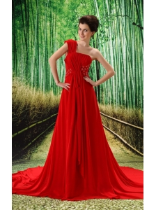Custom Made Red One Shoulder Ruched Bodice Prom Dress Beaded Decorate Bust In Formal Evening