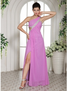Custom Made Slit Lavender One Shoulder 2013 Prom Celebrity Dress With Ruch and Beading