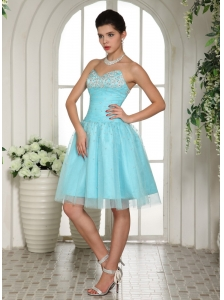 Customize Aqua Blue Sweetheart Beaded Prom Dress For Prom Party