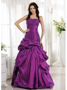 Eggplant Purple Ruched Bodice and Pick-ups for Prom Dress