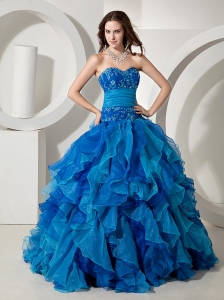 Embroidery Bodice and Ruffles For Blue Quinceanera Dress