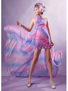 Fashionable High-low Prom Dress With Appliques High-neck Detachable For Custom Made