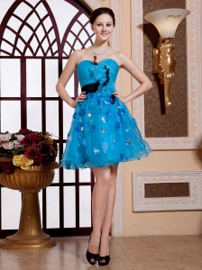 Feather Teal Blue A-line Sweetheart Organza Cocktail 2013 Prom Gowns Hottest Custom Made