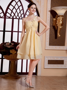 Gold One Shoulder Empire Beaded Decorate Shoulder Chiffon Knee-length Prom Gowns