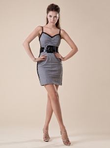 Grey and Black Spaghetti Straps Belt Mini-length Cocktail Dress For Custom Made