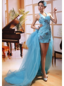Halter Top Appliques Column Dismountable Watteau Train Designer 2013 New Styles Prom Gowns Custom Made
