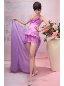 Hand Made Flowers and Beading Decorate Bodice Coumn Lavender 2013  Prom Dress