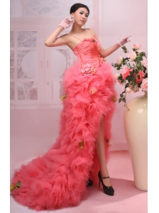 Hand Made Flowers and Ruffles Decorate Bocide Spaghetti  Straps High-low Watermelon Red  Prom Dress