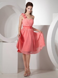 Hand Made Flowers Decorate One Shoulder Ruch Watermelon Red Knee-length Chiffon 2013 Prom / Homecoming Dress