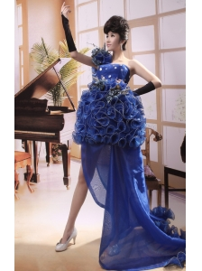 Hand Made Flowers Organza A-line One Shoulder Brush 2013 Prom Gowns Custom Made