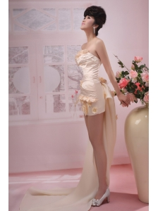 Handle-Made Flowers Strapless Prom Dress Watteau Champagne Taffeta Column / Sheath