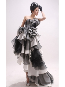 High-low and Ruffled Layers For 2013 Prom Dress  With Hand Made Flowers