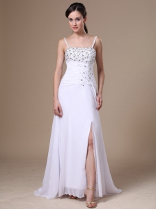 High Slit Column Beaded Decorate Shoulder Customize Straps Chiffon Prom Dress
