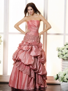 Lace and Pick-ups Decorate For Watermelon 2013 Prom Dress