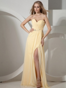 Light Yellow High Slit and Beaded Decorate Waist Prom Dress