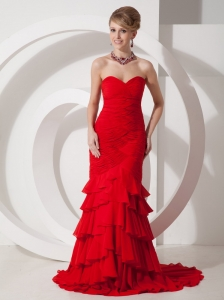 Mermaid / Trumpet Chiffon Sweetheart Brush / Sweep Ruffles Red Prom Dress