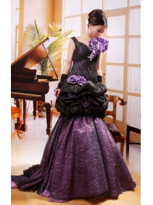 Mermaid Hand Made Flowers Decorate Shoulder Straps Stylish Celebrity Prom Gowns With Black And Purple
