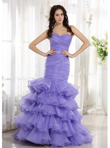 Mermaid Lilac For Prom dress With Ruched Bodice and Ruffled Layers