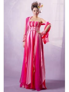 Multi-color Applqiues Decorate Bust Prom Dress With Chiffon For Party Style