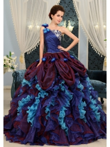 Multi-Color Ruffles One Shoulder Ball Gown With and Made Flowers Gorgeous 2013 Quinceanera Dress