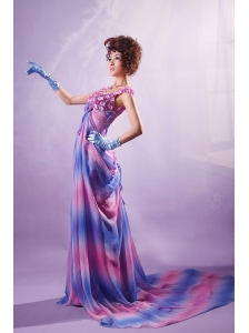 Ombre Color Appliques Scoop Court Train Prom / Evening Dress For Custom Made