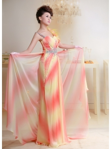 Ombre Color Beaded Chiffon Prom Dress With Court Train