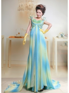 Ombre Color Chiffon Bateau Court Train Prom / Evening Dress For Custom Made