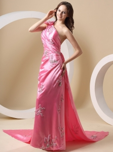 One Shoulder Appliques and Watteau Train For Rose Pink Prom Dress