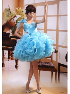 One Shoulder Baby Blue A-line Mini-length Prom Gowns With Organza Ruffles 2013
