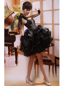 One Shoulder Black A-line Mini-length Prom Gowns With Organza Ruffles 2013 Hottest