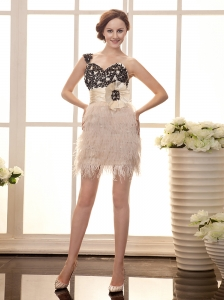 One Shoulder Champagne Column Black Lace Feather Hand Made Flowers