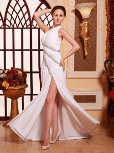 One Shoulder Chiffon Brush High Slit Stylish Prom Gowns Custom Made