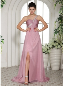 One Shoulder High Slit Lavender 2013 Prom Dress With Ruch and Beading