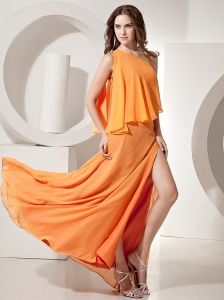 Orange Red One Shoulder Empire Prom Dress Floor-length Chiffon Beading