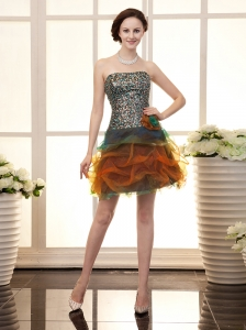 Paillette Over Skirt Bodice Strapless Multi-color Hand Made Flowers 2013 Prom Gowns