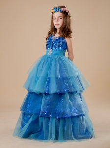Paillette Over Skirt Layer A-Line Halter Blue Tulle 2013 Flower Girl Dress